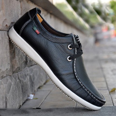 2015 new fashion sneakers for men High Quality genuine leather casual driving flats round toe lace up boat shoes