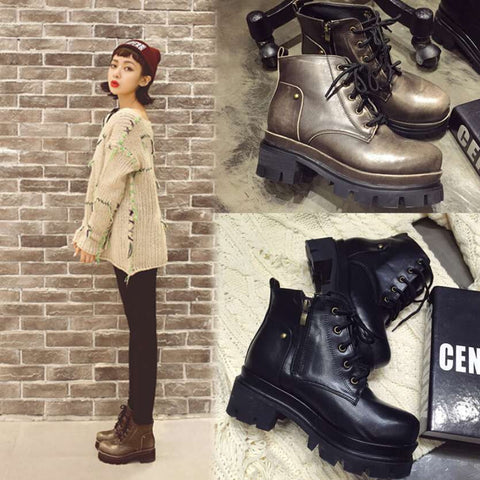 2014 Stylenanda Korean Fashion Woman Platform Thick Sole Black Grey Genuine Leather Winter Lace Up Combat Boots Booties