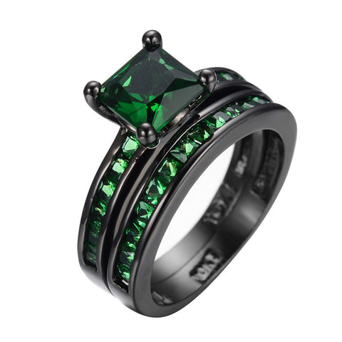 2pcs Emerald Ring For Female Male Black Gold Filled Cubic Zircon Rings Wedding Engagement Christmas Jewelry Retro Vintage RB0362 Alternative Measures
