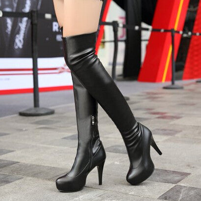 2013 Winter Black Leather Red Bottoms Over The Knee Length Thigh High Long Tall Boots Elastic Platform High-Heel Boots For Women