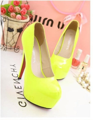 2015 Size 34-40Women fashion candy color round head high heels fluorescent  yellow shoes C170