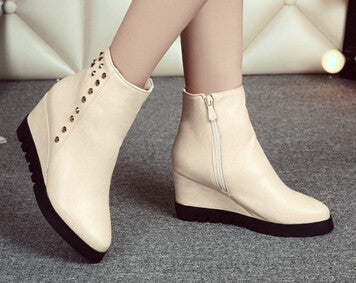 2015 women new fashion spring autumn vintage casual british style 7cm high heels wedges martin boots shoes plus size 40-43