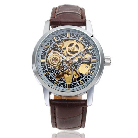 2015 NEW HOT STEAMPUNK Mens Luxury Dress watches Golden Dial Automatic Mechanical Skeleton Sport Army Military Wrist Watch Alternative Measures - Brides & Bridesmaids - Wedding, Bridal, Prom, Formal Gown