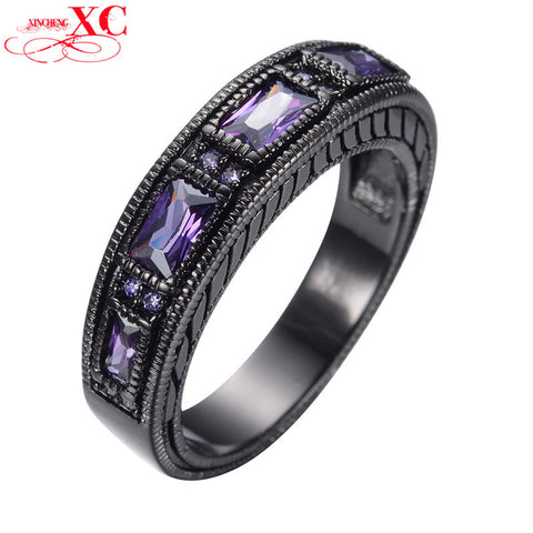 Amethyst Cubic Zircon Stone Rings For Female Male Antique Black Gold Filled Rhinestone Ring Party Friendship Gift Anel RB0097 Alternative Measures