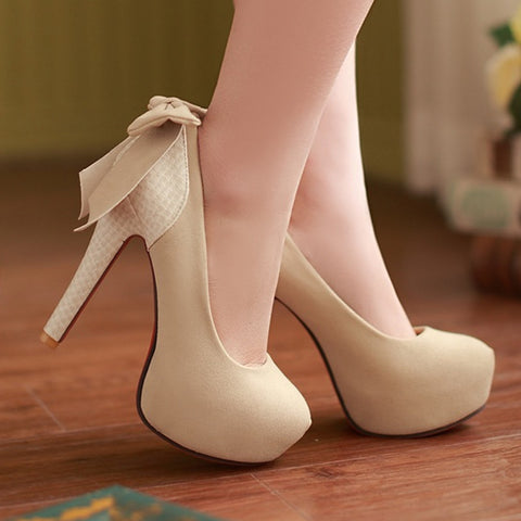 15 years OL high stiletto shoes bow following the Korean fashion plus size women's shoes high women shoes M26