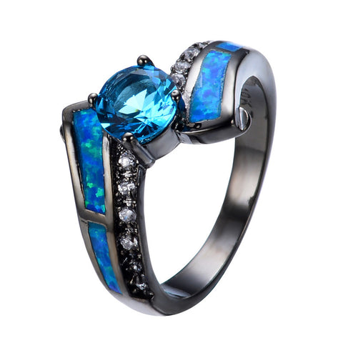 2015 Hot Selling Jewelry Size 6/7/8/9 Blue Opal Aquamarine CZ White Black Gold Filled Band Anel Aneis Engagement Rings RB0305