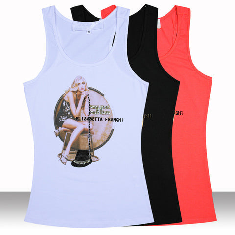 2015 new high-end women's boutique brand handmade diamond Tank Tops women mature woman vest summer T shirt Minions Plus size Alternative Measures