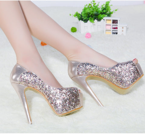 14CM High Heeled Shoes And New Sequined Stilettos Waterproof Fish Mouth Shoes Women'S Marriage Shoes
