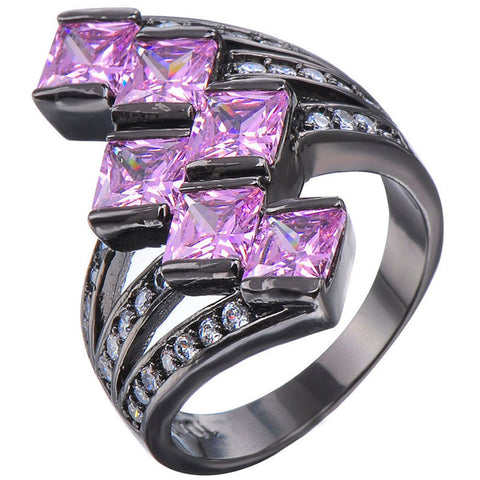 5 Color Women Charm Pink Sapphire Stone Engagement Ring AAA CZ Zircon 10kt Black Gold Filled Ring Wedding Jewelry Square Design Alternative Measures