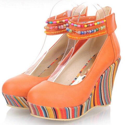 2014 Ankle Wrap Jewelry White Red Orange Iswag Colorful Stripes Beading Bohemia Wedge Platform High Heel Shoes Ethnic Footwear