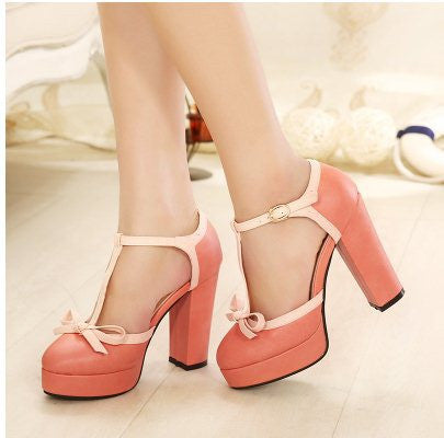 2015 Size 34-39 Women Preppy Sweet Lolita T-Strap Princess Pumps Student British Style High Heel Leather Shoes  F482