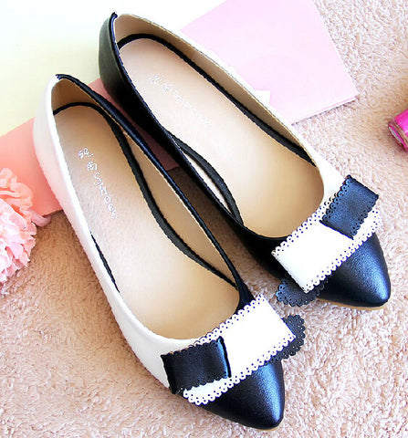 2014 Fashion Korean Plus Size Cut Out Pointed Toe Black And White Leather Lady Office Career Shoes Slip-On Flats 43 US 10 10.5