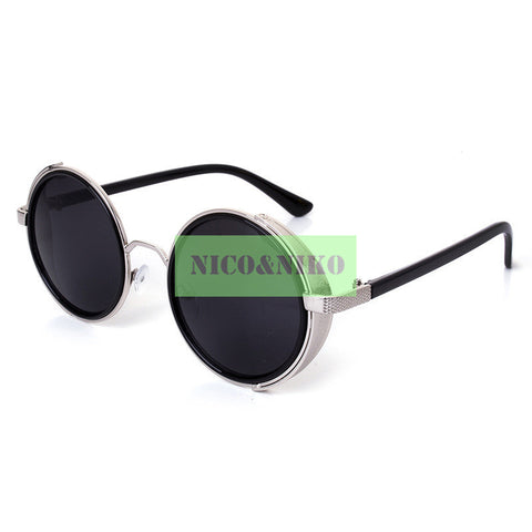 10 Colors Gothic SteamPunk Round Frame Eyewear 2015 New Vintage Fashion Summer Cool Sunglasses Women Men Brand Designer