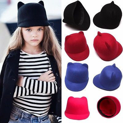 2015 Hot Girl Boys Kids Fedora Hat Winter Fashion Cat Ear Animal Bowler Warm Soft Cap