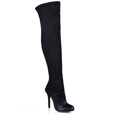 2015 Winter Over The Knee Boots Black Suede High Heel Round Toe Leisure Thigh High Boots Plus Size Red Bottom Winter Boots TA015