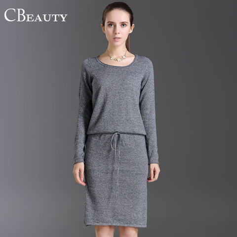 2015 Autumn Women Grey Knitted Long Sleeve Knee Length Casual Lace Wasit Fitness Warm Cotton Winter Dress Fashionable Clothes