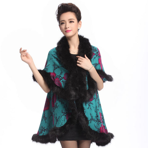 2015 fall winter women's vintage print fur coat double-decked faux fur cape Imitation fox Surround knit poncho Cardigan shawl Alternative Measures