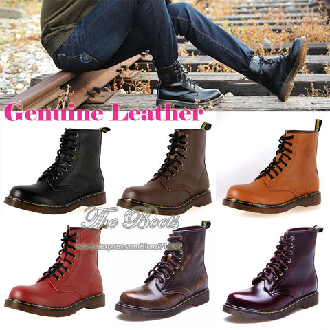 2014 Men's Autumn Winter Warm Fur Black Brown Red Genuine Leather Vintage Lace Up Military Army Combat Ankle Boots Male Fashion