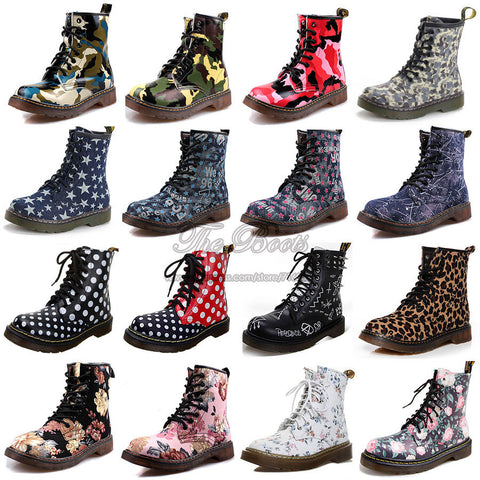 2014 Fashion Punk 8-eye 1460 Camouflage Floral Leopard Print Black Polka Dot Denim Ankle Army Combat Military Boots For Women