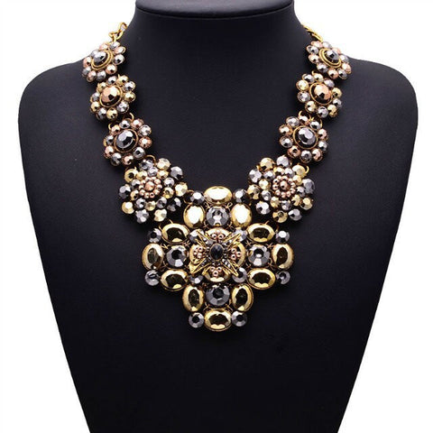 2015 New Design XG081 Long Vintage Statement Necklaces & Pendants Gold Crystal Flower Necklace For Women Gothic Collares Mujer