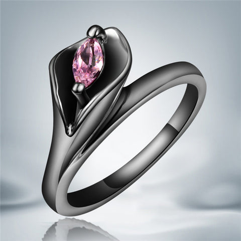 1pc ! New delicate pink cz diamond leaf rings fashion black gold filled 10kt rings for women Alternative Measures