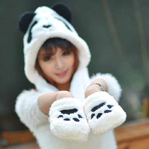 1 piece new winter top salling Lovely Cartoon panda design Hat Warm Animal Cap Hat with Scarf Gloves Alternative Measures