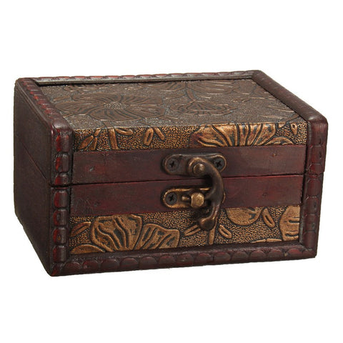 1 PCS/LOT Vintage Jewelry Storage Box Metal Lock Wooden Organizer Case Wood Boxes Antique Retro Jewellery Candy Container Cases