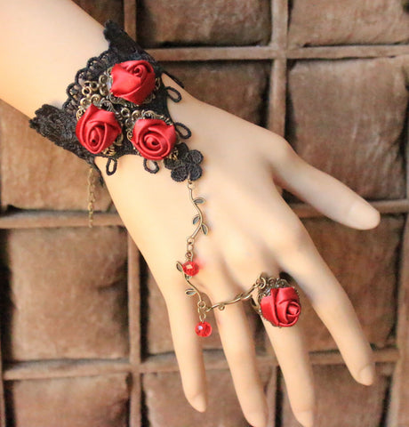 1pcs  Vintage Lace lace Gothic Jewelry  Bracelet Red bride jewelry