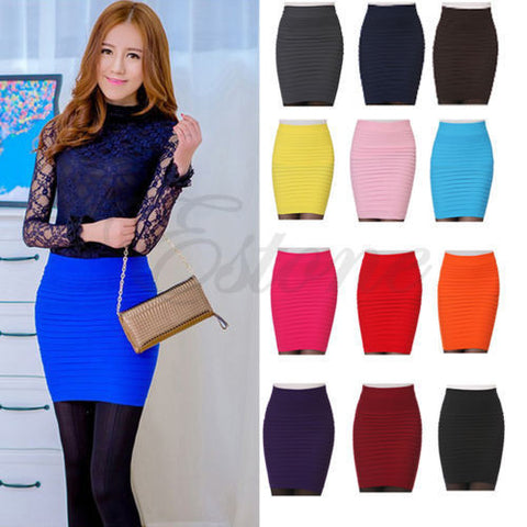1PC Women's y A-Line Candy Color Elastic High Waist Stretchy Slim Seamless Skirt Alternative Measures