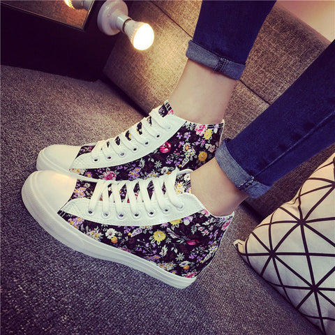 2015 autumn summer new fashion sneakers for women canvas breathable height increasing lace up print ladies flats