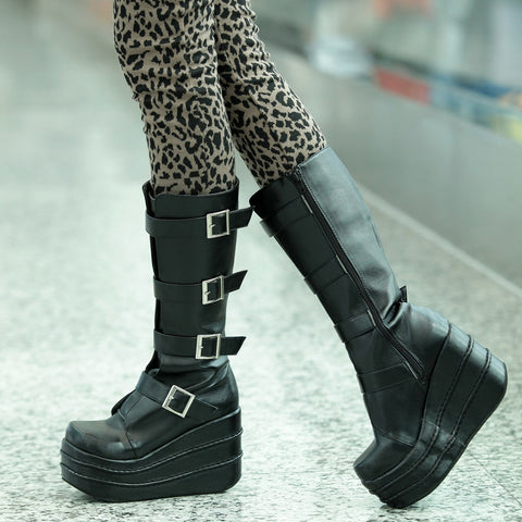 Big Size 35-43 Lolita Cosplay Boots White High Boots Black Buckle Knee High Women's Winter Boots Platform Wedge Motorcycle Boots Alternative Measures