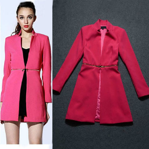 2015 Autumn Winter European Red Trench Coat Cardigans For Women Zipper Waist Office Lady Work Coat Fall Fashion