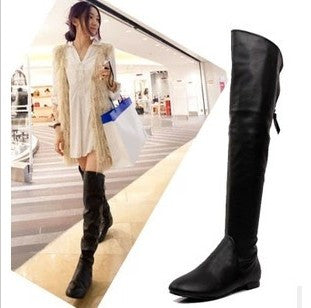 2013 Winter Cheap Black Leather Flat Long Tall Over The Knee Riding Boot Thigh High Boots For Women Clearance On Sale Wholesale