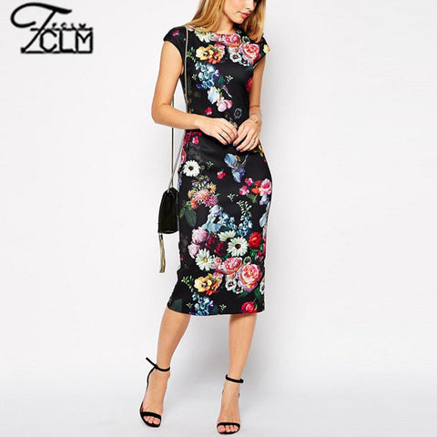 2015 Ethnic Sexy Slim Bodycon Pencil Dress Retro Vintage Floral Printed Dress Sleeveless Hip Package Party Dress EC9262