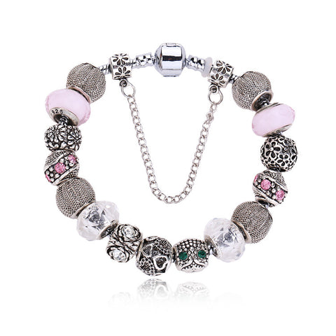 (12Pcs/Lot) New European charms jewelry Pink Crystal Beads Cute Owl Fit European Bracelet Women Jewelry