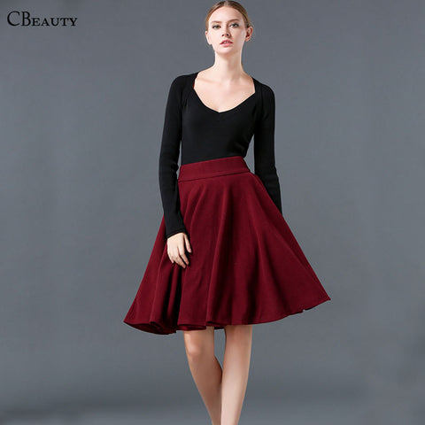 2016 New Arrival Women Fashion Casual Wool Full Warm Winter Autumn Pleated Pastel Black Red Khaki Midi Skirts European Style