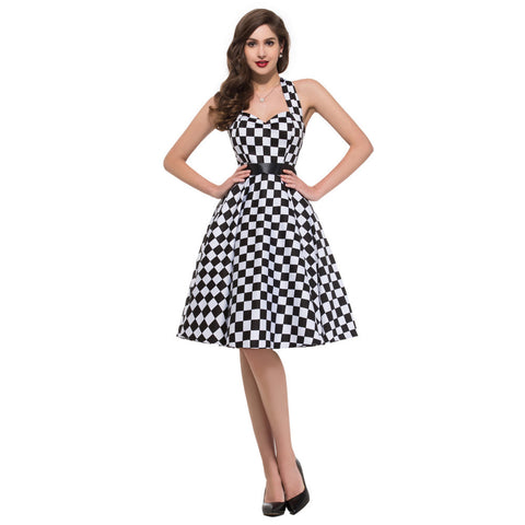1pc/lot Grace Karin Black & White Cotton Checkerboard Ball Evening Vintage Dress CL6076 Alternative Measures - Brides & Bridesmaids - Wedding, Bridal, Prom, Formal Gown