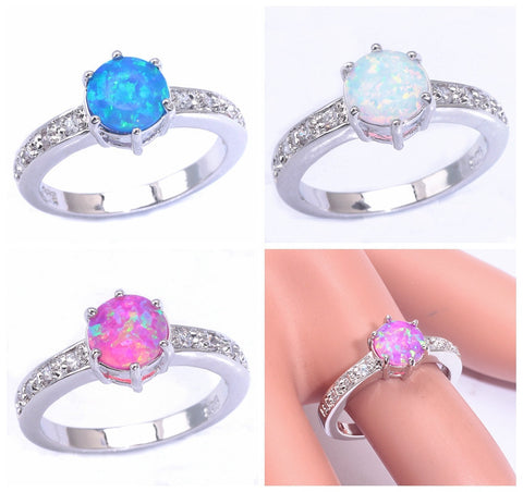 2015 ! Wholesale & Retail For Women Jewelry Pink Blue White Fire Opal & Cubic Zirconia Silver Ring Size 6 7 7.25 8 9 OJ6777-79