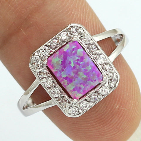 2015 Fashion Jewelry Square 5x7mm Pink Fire Opal Ring For Women Size #6 #7 #8 #9+ Free Shipping 61P
