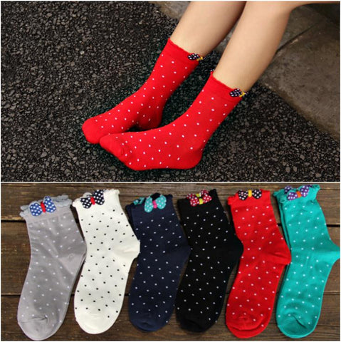 DROPKICKS STOCK ITEM: 6 color 2014 New Women Korea Lace Bow Cotton Athletic Winter Autumn Warm Fashion Knee High knit Cute Socks/Meias/Calcetines