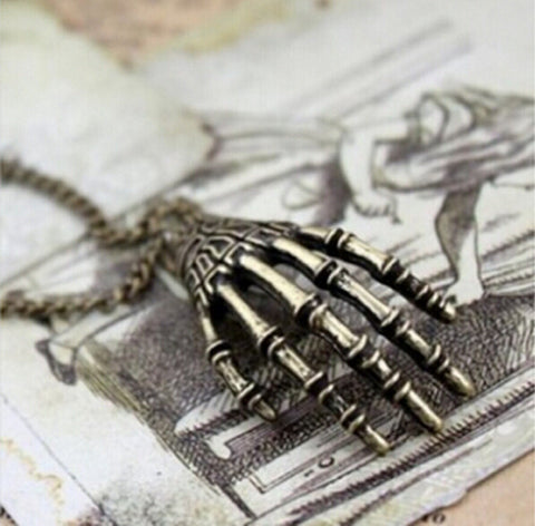 2015 Fashion Men Jewelry Collares Vintage Punk Gothic Skull Bone Hand Claw Long Pendant Necklace Women Chains Accessories M214 Alternative Measures