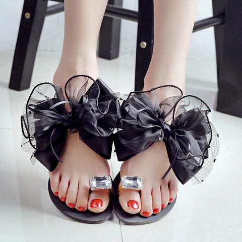 2016 summer lady's Bowtie flower flat sandals sexy casual fashion female beach flip flops women mesh grey black shoes home