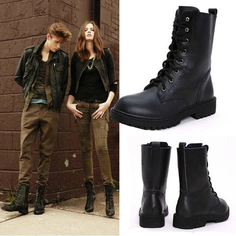 2014 Fall Fashionable British Style Us Military Army Lace Up Flat Black Mens Combat Boots For Women Fashion Winter Ankle Boot