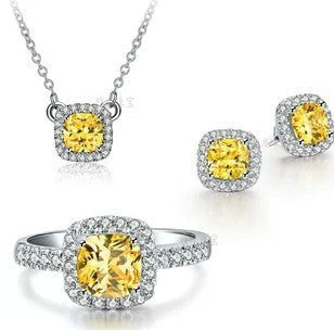 1 CT yellow sona synthetic  gemstone wedding rings 925 sterling sliver necklace gold plated earrings wedding jewelry sets