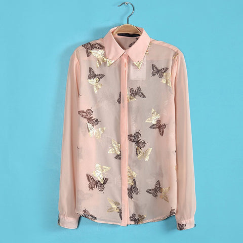 DROPKICKS STOCK ITEM: 2015 new bronzing butterfly print long-sleeve chiffon shirt women casual shirts blouse