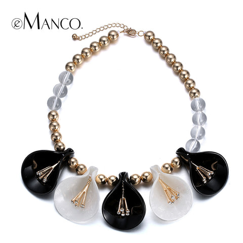//Bead chain necklace flower acrylic// women choker necklaces & pendants new arrival 2015 jewelry trendy necklace eManco NL13253