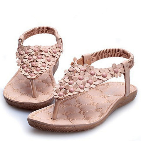 2014 New Arriving Flats Sandals Flower Beading Women Flip Flop Wholesale Lady Shoes F128