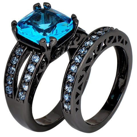 2 Pcs Aquamarine Sapphire Rings For Couple Female Male Black Gold Filled CZ Wedding Engagement Party Gift Anillos Nuevos Alternative Measures