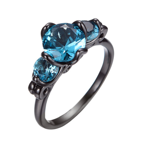 2016 Fashion Big Aquamarine Ring Men Women Charming Jewelry Bijoux Femme Black Gold Filled Engagement Band Wedding Rings RB0374