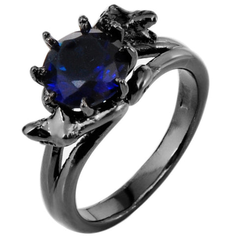 Attractive Sapphire Blue Topaz CZ Ring Woman 10kt Black Gold Filled Ring Charm Eternity Wedding Anniversary Bands Christmas Gift Alternative Measures